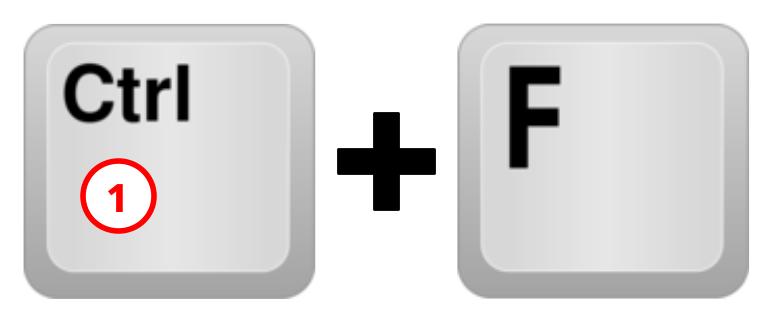 Sneltoets Ctrl+F met nr 1 erop