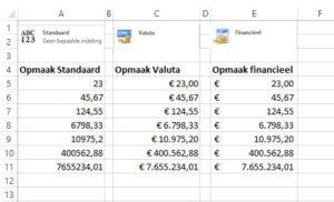 sneltoets Ctrl+$ verschillende opmaakvormen valuta en financieel