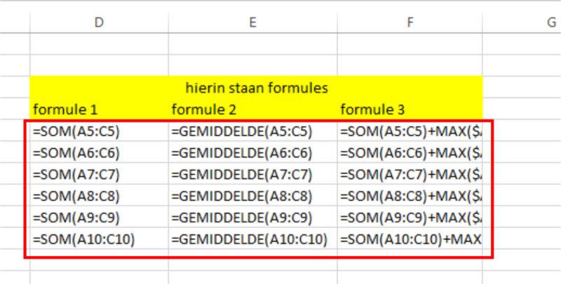 Sneltoets Ctrl+t voorbeeld formules weergeven