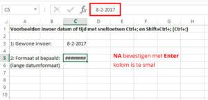 sneltoets Ctrl+; voorbeeld lange datumnotatie 2