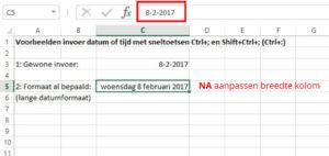 sneltoets Ctrl+puntkomma voorbeeld lange datumnotatie 3