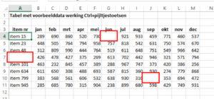 Werking Ctrl+pijltjestoetsen