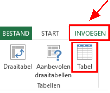 Schermafbeelding tabel invoegen via lint