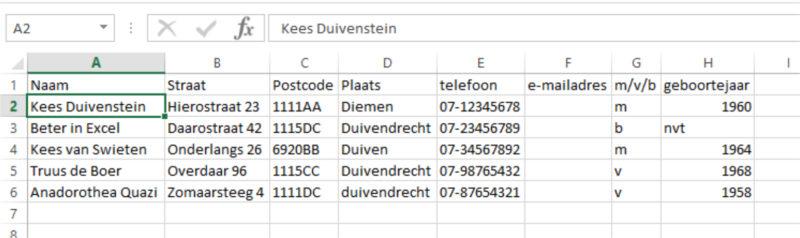 Adresgegevens omzetten naar Excel-tabel