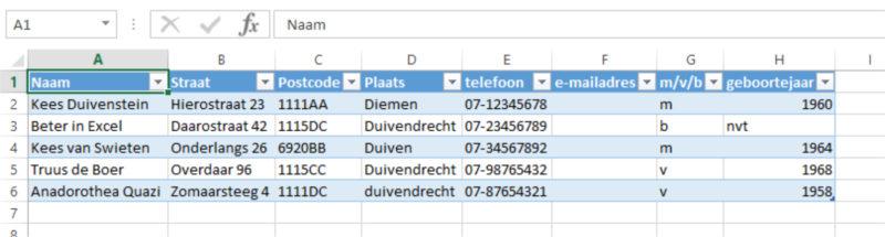 Tabel voorbeeld namen en adressen