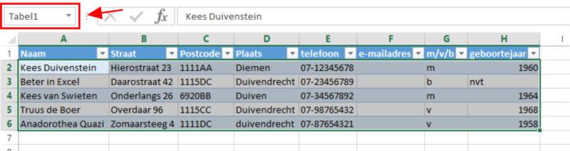 Excel-tabel met naam