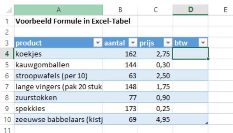 Excel-tabel kolom erbij maken