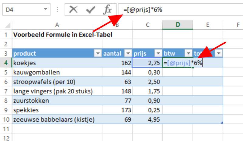 Excel-tabel formule invoeren