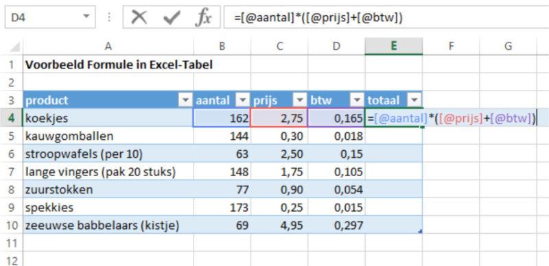 Excel-tabel formule invoeren 2