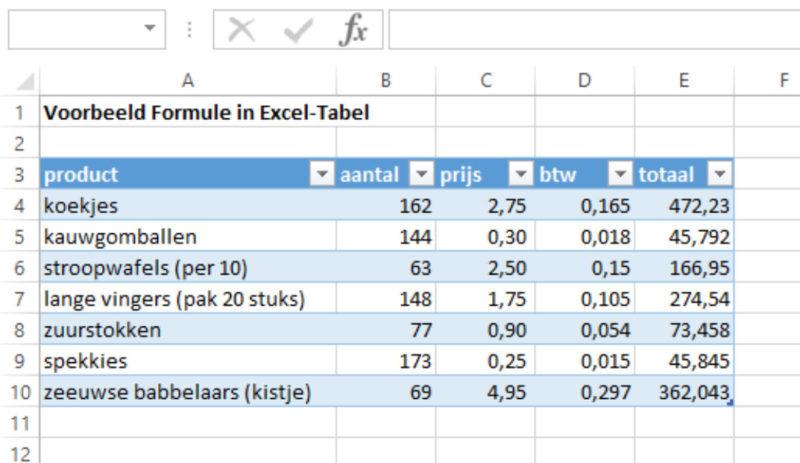 Excel-tabel formule resultaat 1