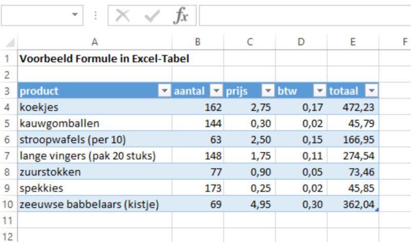 Excel-tabel formule invoeren resultaat 2