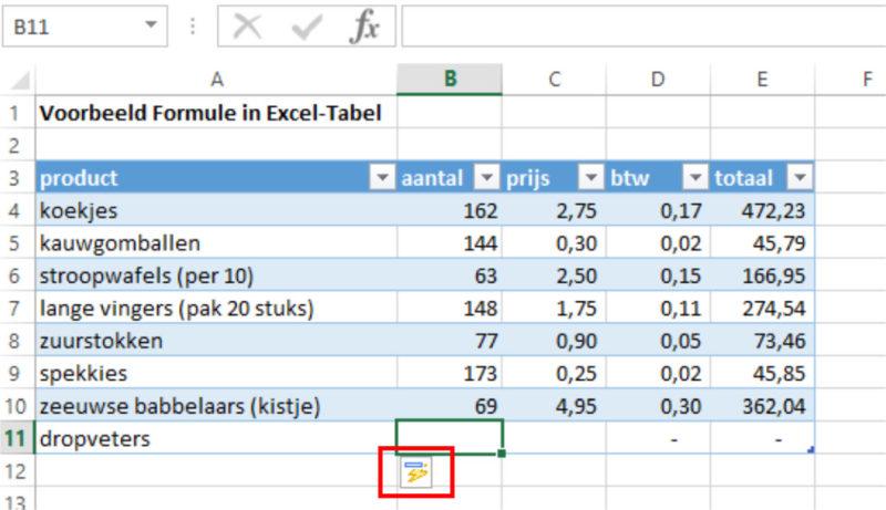 Excel-tabel nieuwe regel