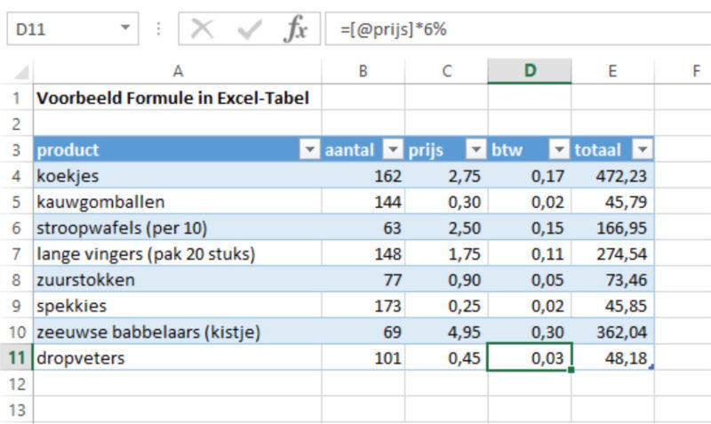 Excel-tabel nieuwe regel voltooid