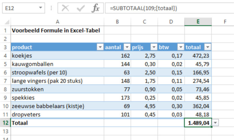 Excel-tabel totalen 1