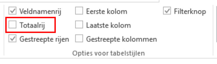 Excel-tabel opties vinken