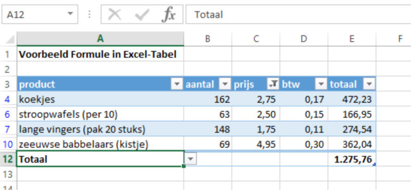 Excel-tabel filtering subtotaal