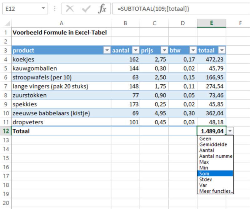 Excel-tabel varianten totaal