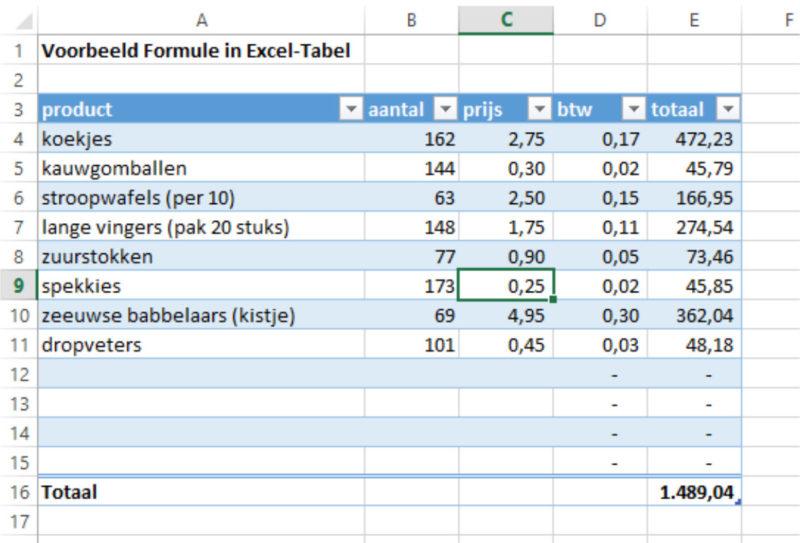Excel-tabel uitbreiden door slepen